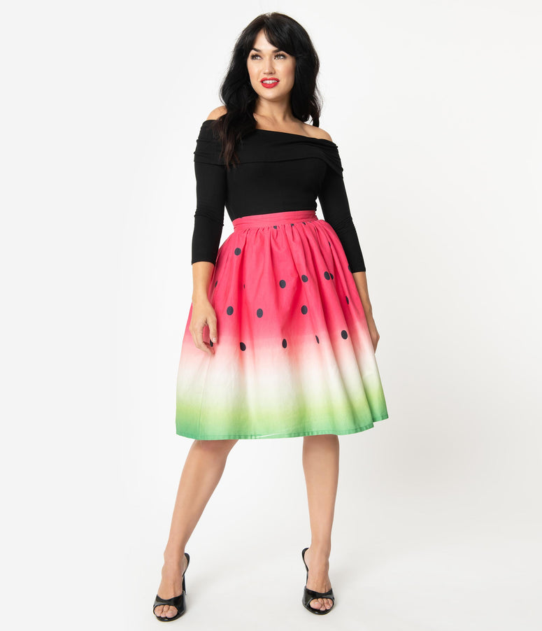 Unique Vintage 1950s High Waist Watermelon Circle Swing Skirt