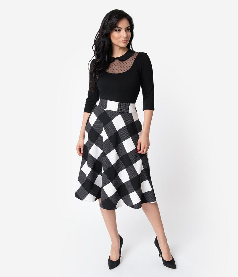 Unique Vintage Retro Black & Ivory Checkered High Waist Vivien Swing Skirt
