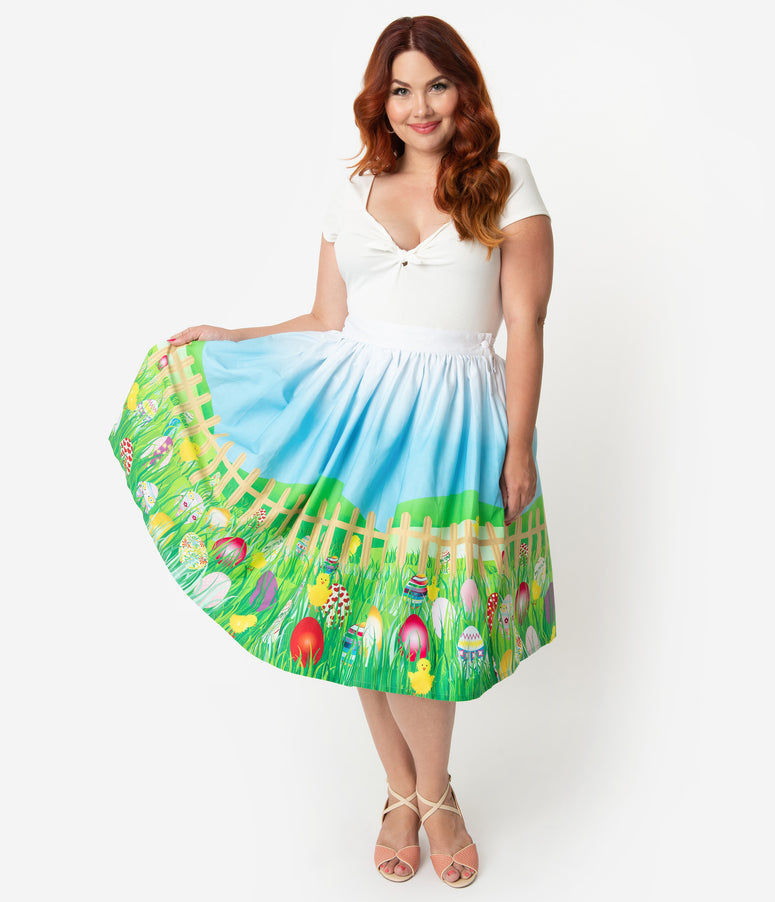 Unique Vintage 1950s Easter Egg High Waist Circle Swing Skirt