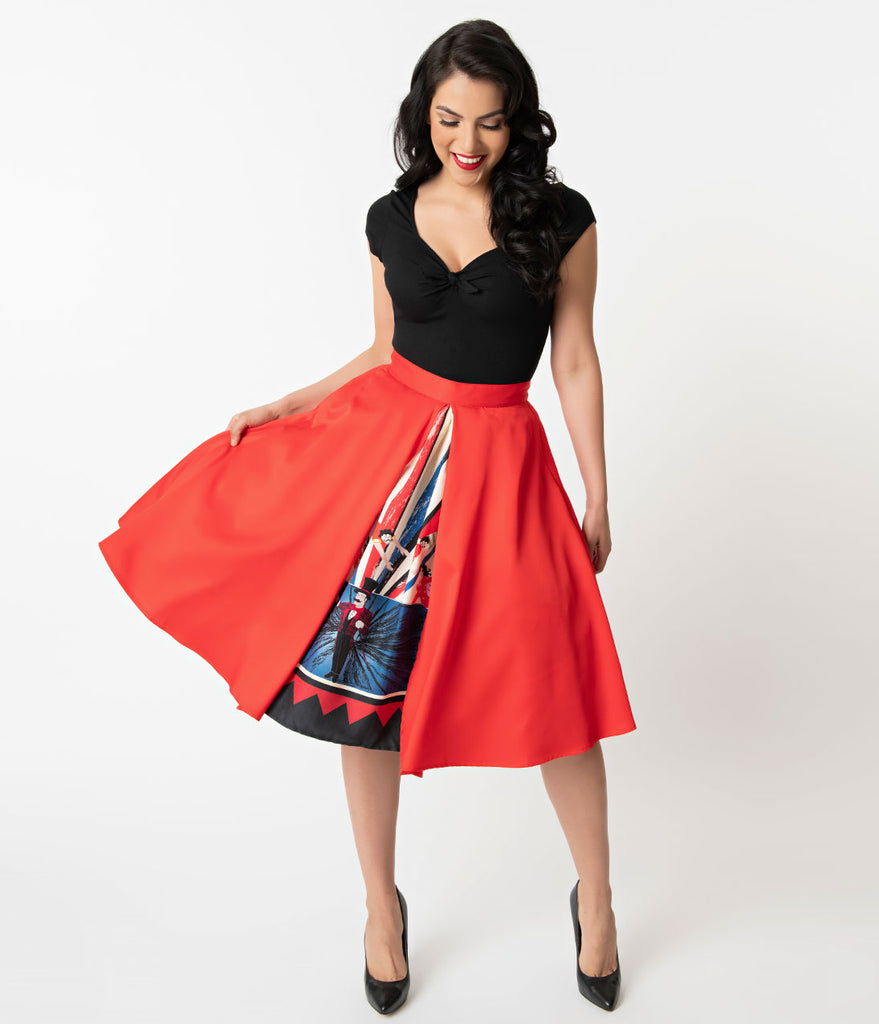 Unique Vintage 1950s Style The Greatest Skirt On Earth High Waist Swing Skirt