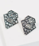 Vintage Style Silver Rhinestone Art Deco Post Earrings
