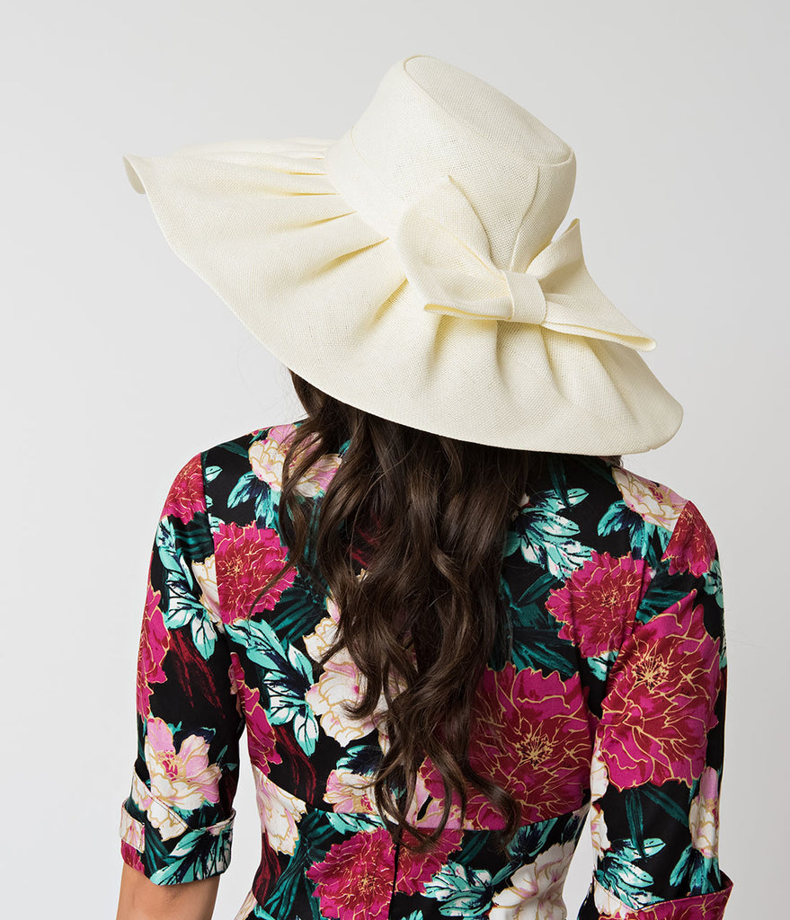 Cream Woven & Pleated Sun Hat with Bow