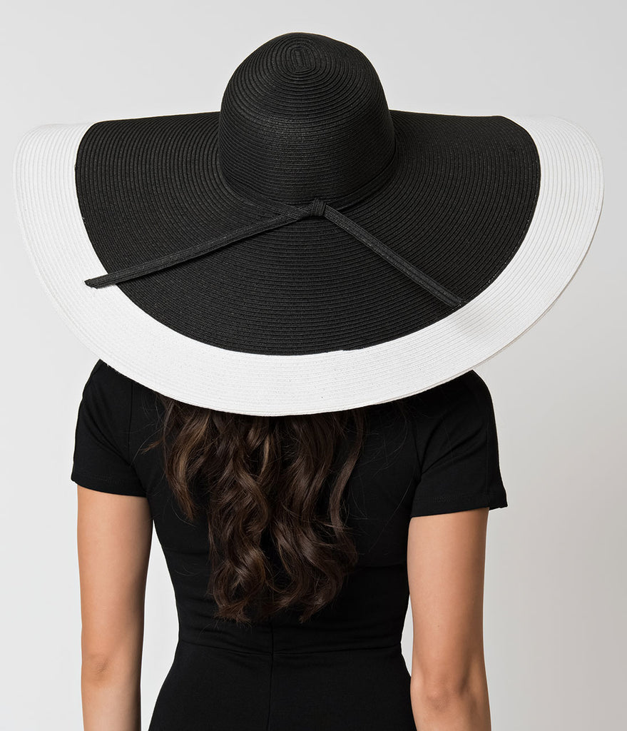 Black & White Color Block Woven Sun Hat with Tie