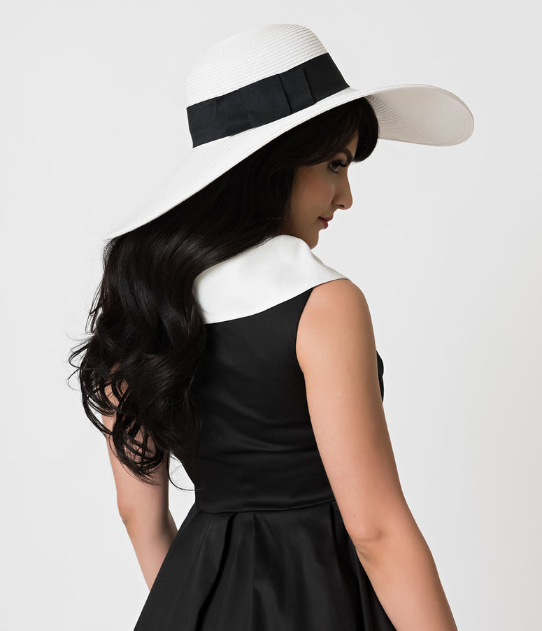 White & Black Braided & Banded Sun Hat