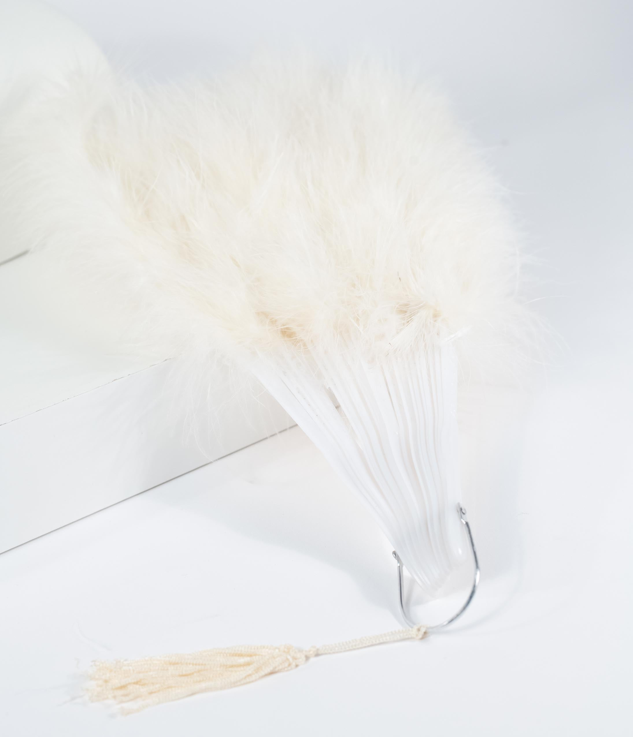 Edwardian Gloves, Handbags, Hair Combs, Wigs Vintage Style Ivory Marabou Feather Fan $24.00 AT vintagedancer.com