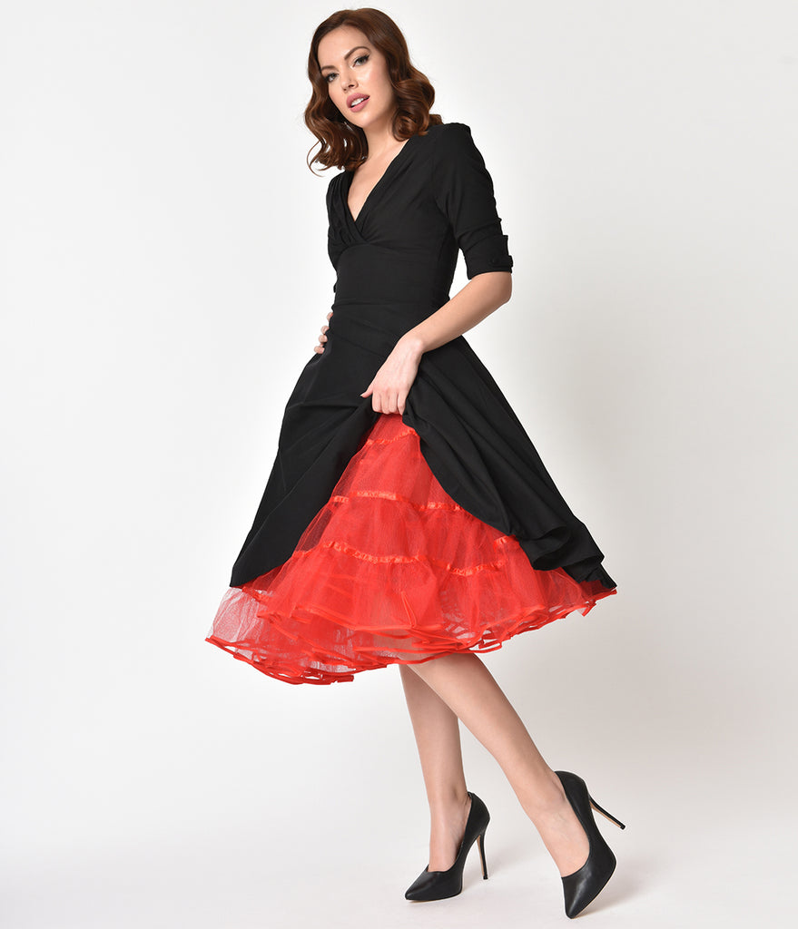 b7fb76fc68db5 1950s Style Red Tulle Tea Length Petticoat Crinoline – Unique Vintage