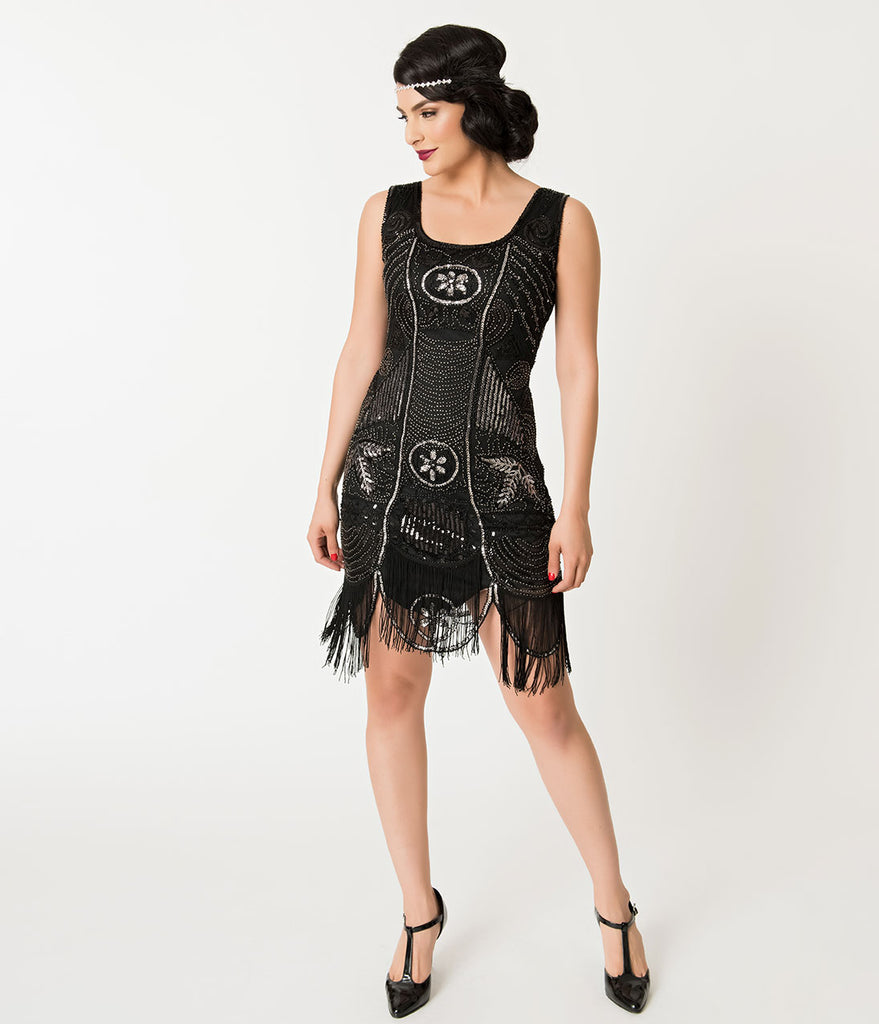 Unique Vintage 1920s Deco Black & Silver Sequin Fringe Camille Flapper Dress