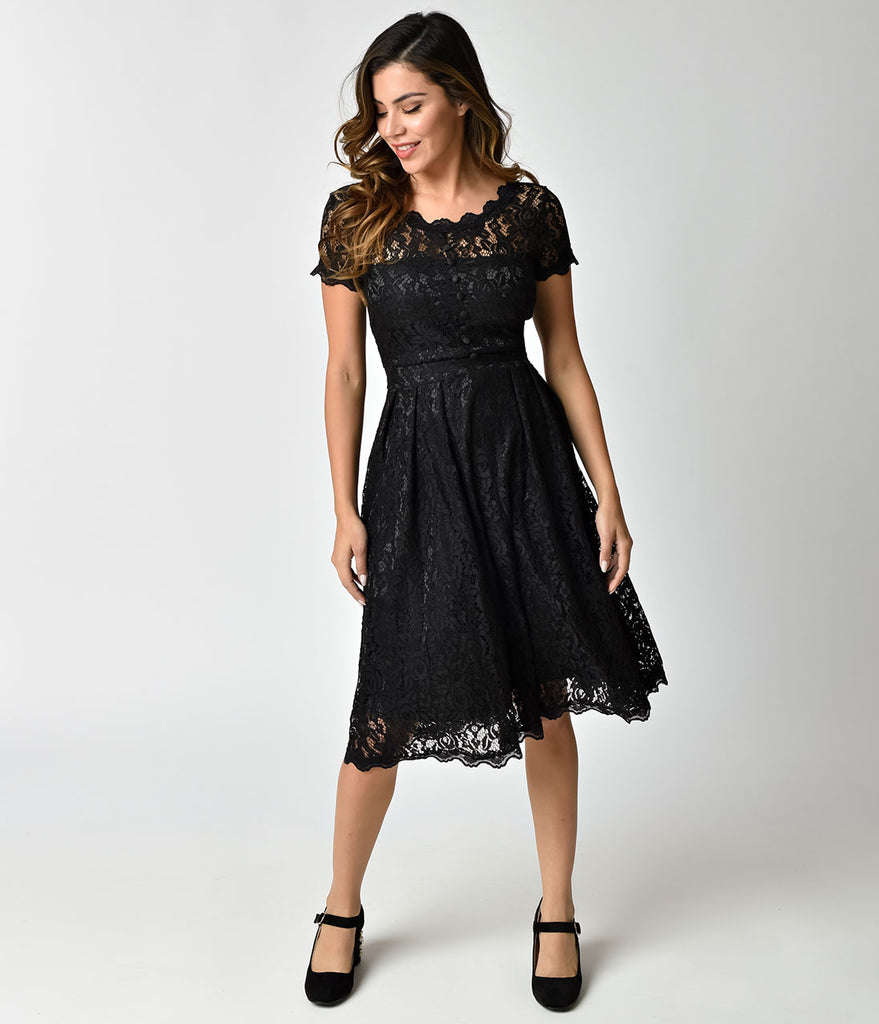 Black Lace Short Formal Dresses with Sleeves