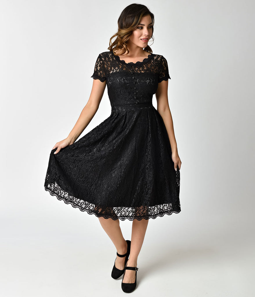 3c8a4b93ce12 1940s Style Black Lace Short Sleeves Cocktail Swing Dress – Unique ...