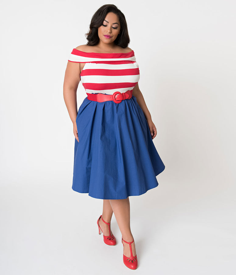 Plus Size Red & White Stripe Off Shoulder & Blue Nautical Swing Dress