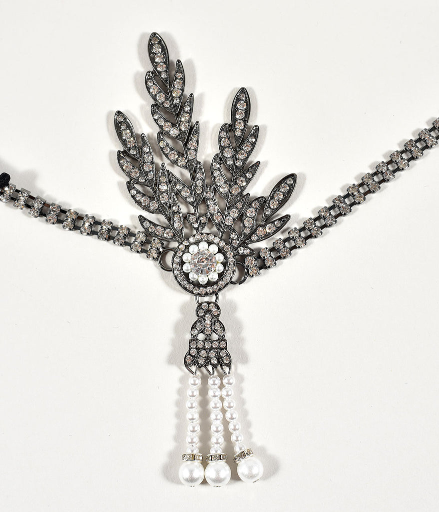 Unique Vintage Silver Rhinestone Feather & Ivory Pearl Flapper Headband