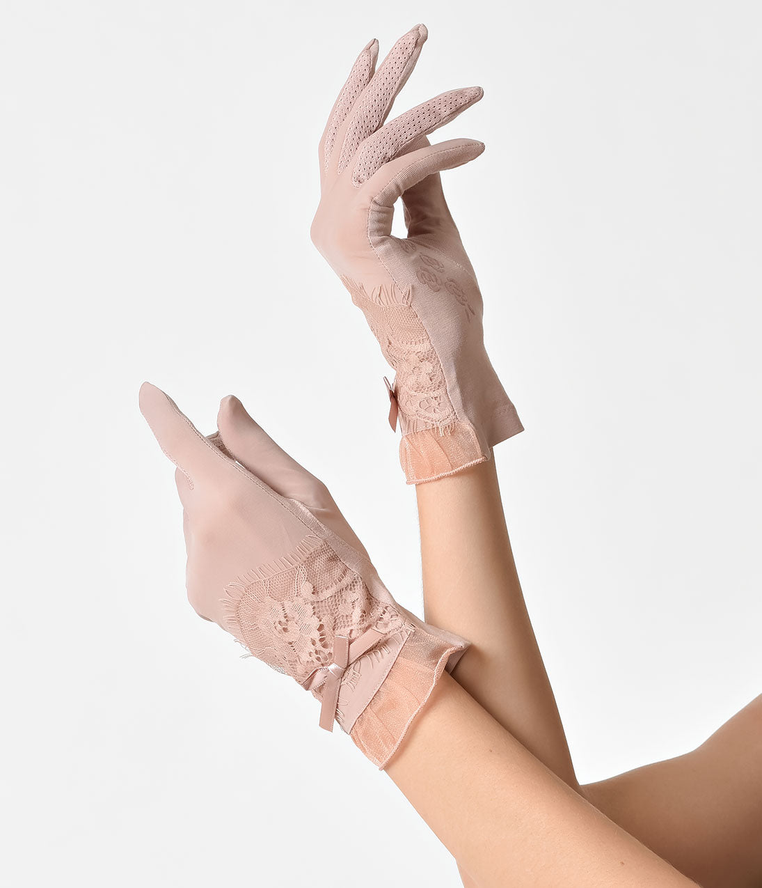 Vintage Style Gloves- Long, Wrist, Evening, Day, Leather, Lace Unique Vintage Dusty Pink Bow Lace  Frill Wrist Gloves $20.00 AT vintagedancer.com