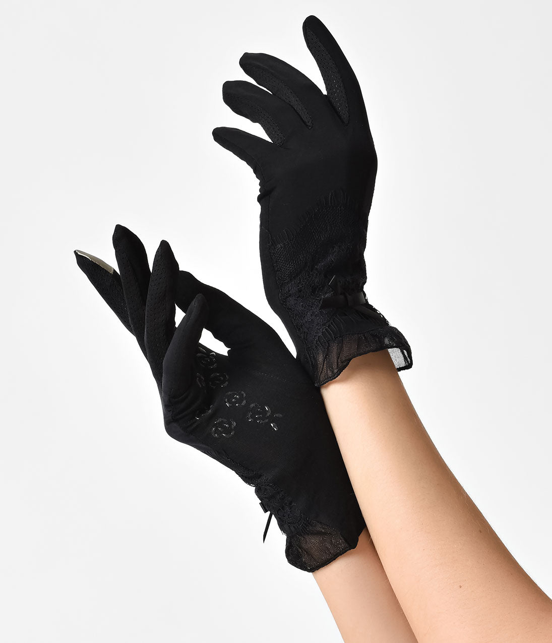Vintage Style Gloves- Long, Wrist, Evening, Day, Leather, Lace Unique Vintage Black Bow Lace  Frill Wrist Gloves $20.00 AT vintagedancer.com