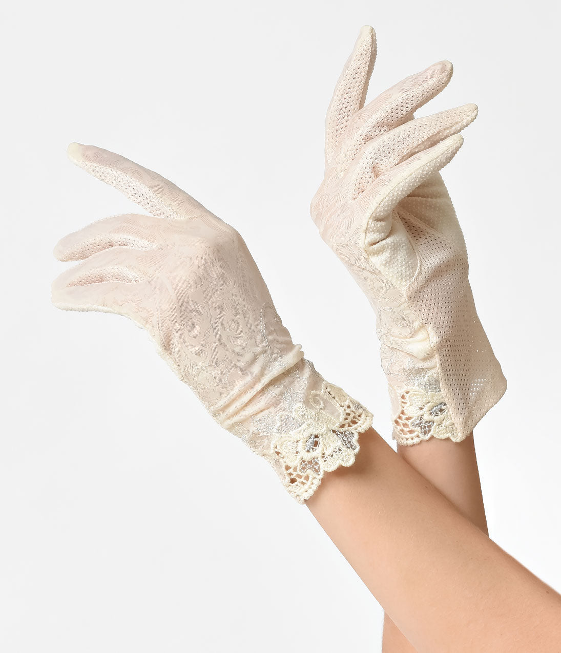 Vintage Style Gloves- Long, Wrist, Evening, Day, Leather, Lace Unique Vintage Cream Lace  Silver Embroidery Wrist Gloves $20.00 AT vintagedancer.com