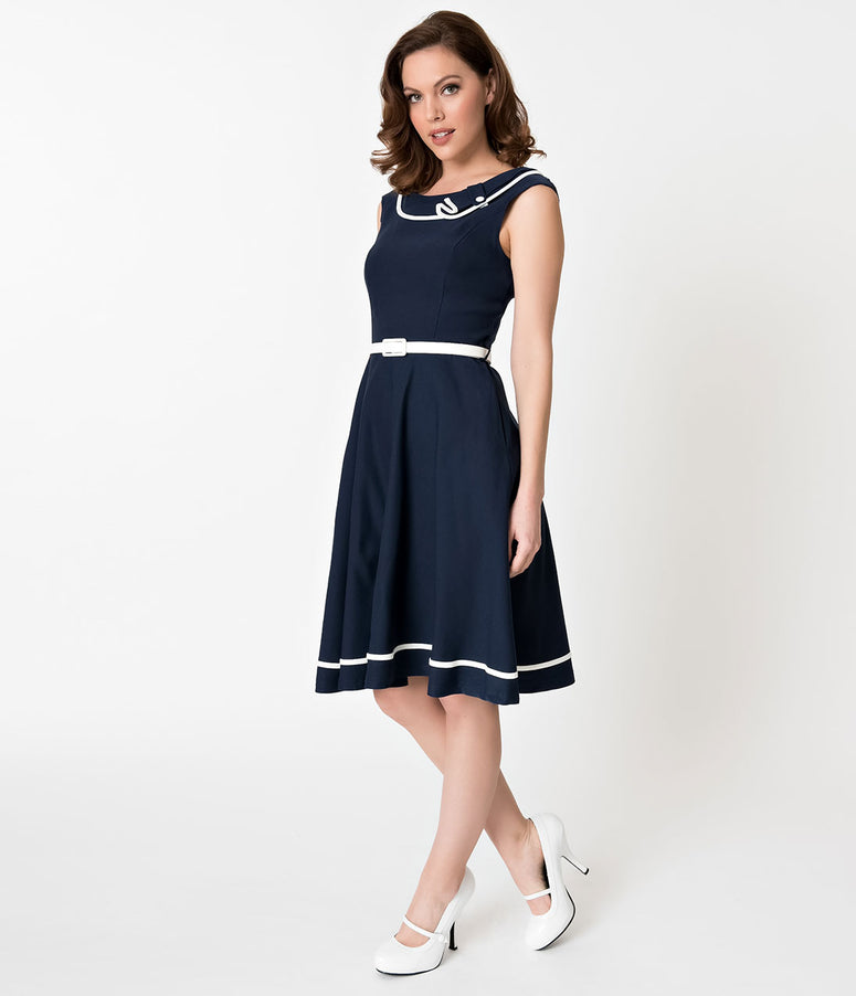 Navy Blue & White Nautical Sleeveless Cotton Stretch Swing Dress