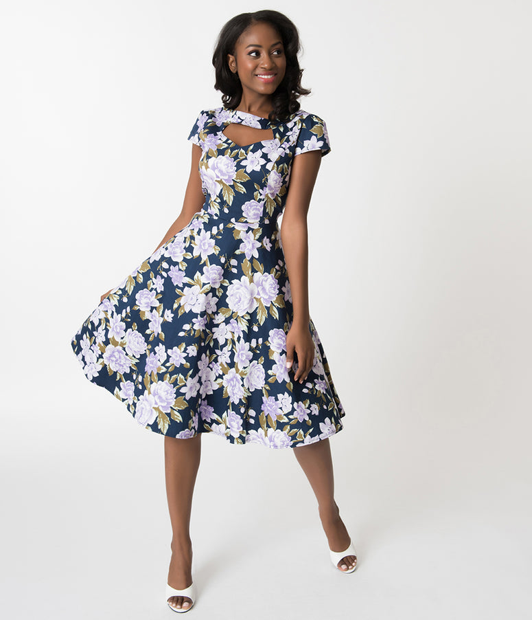 Navy & Purple Florals Cap Sleeve Cotton Swing Dress