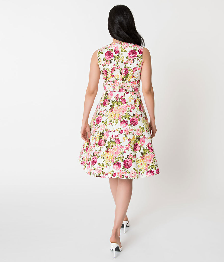 White & Blooming Florals Sleeveless Cotton Swing Dress