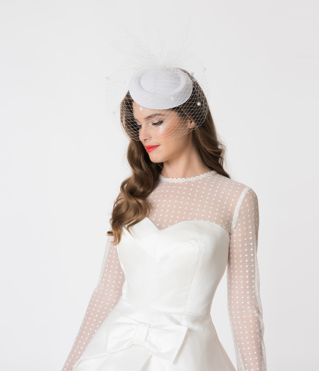 Vintage Inspired Wedding Dress | Vintage Style Wedding Dresses Unique Vintage White Netted Flair Fascinator $32.00 AT vintagedancer.com