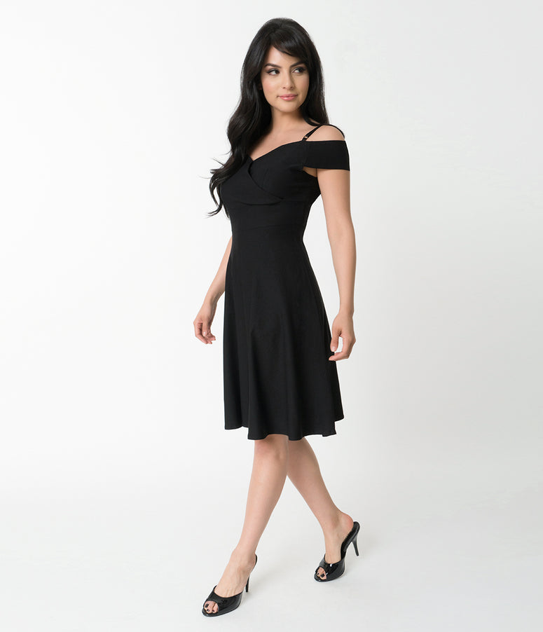 Black Stretch Off Shoulder Sleeve Swing Dress