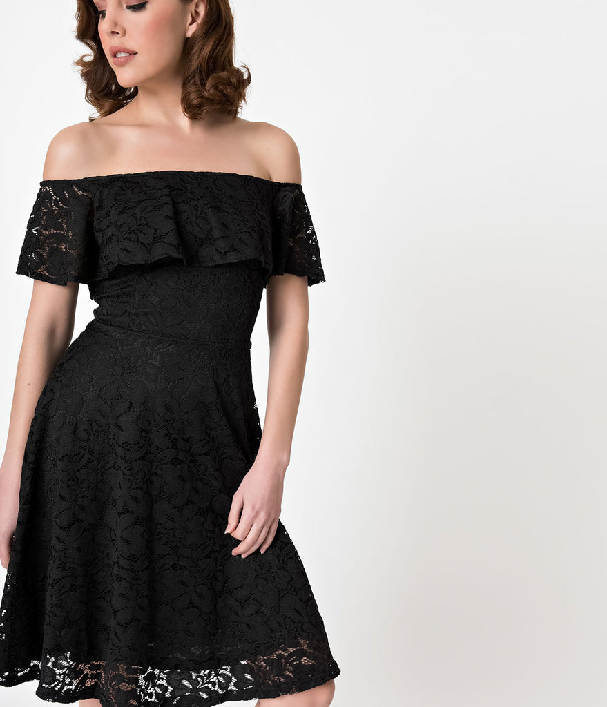 Black Lace Off Shoulder Ruffle Cocktail Swing Dress