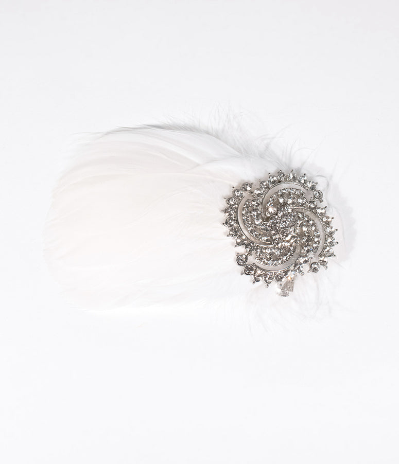 Unique Vintage White Feather & Silver Crystal Brooch Hair Clip