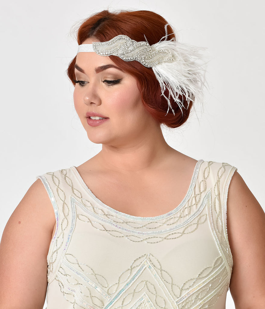 Unique Vintage 1920s Style White Feather & Silver Beaded Rhinestone Headband