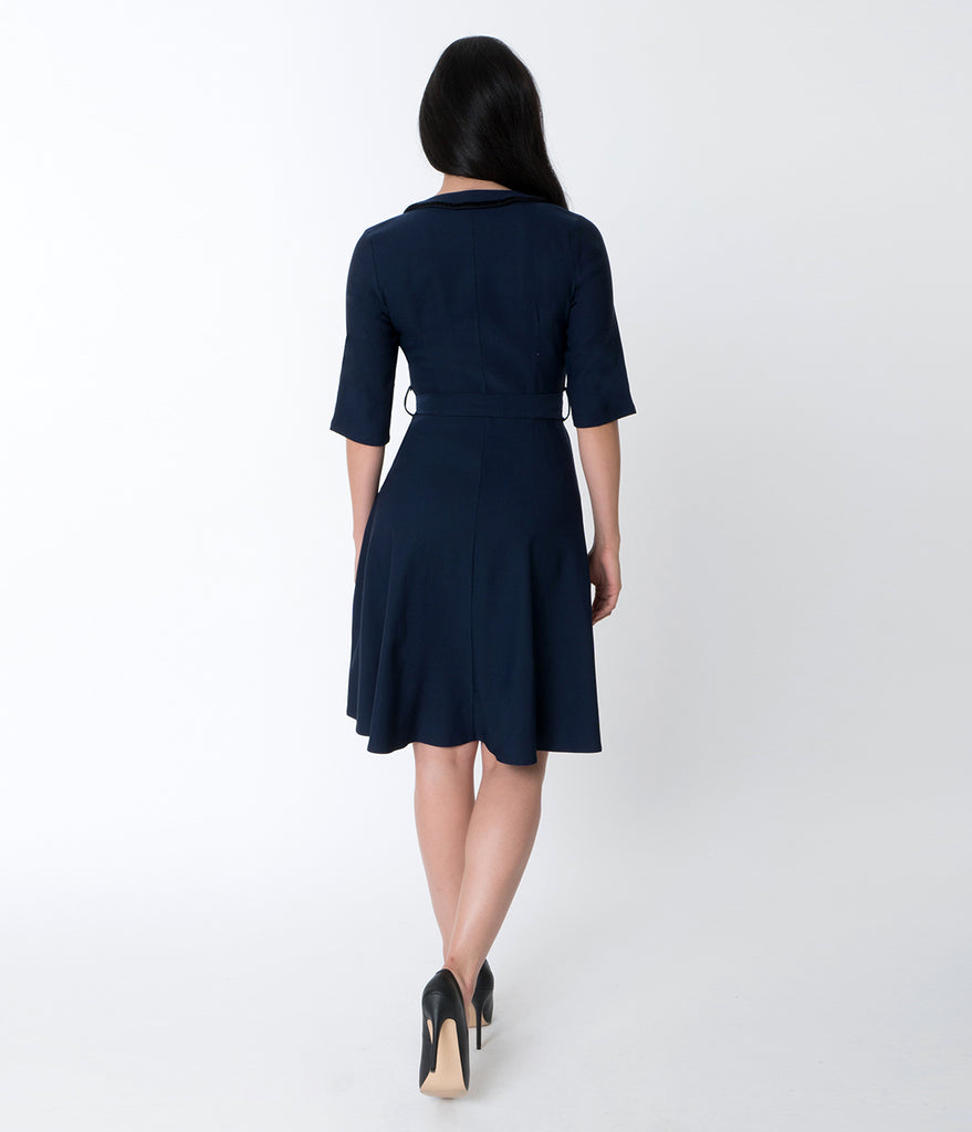 Navy Blue Stretch Cotton Half Sleeve Nautical Flare Dress