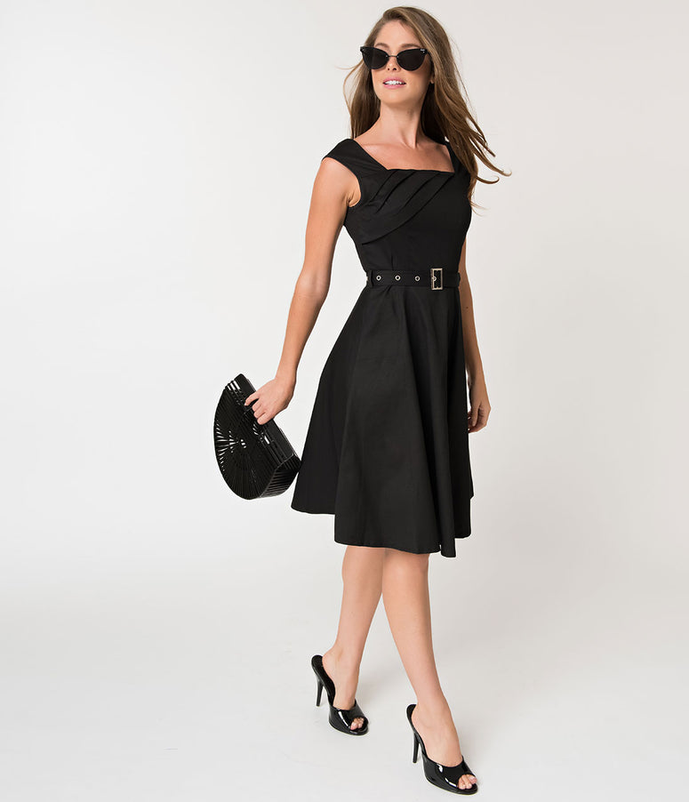 Vintage Style Black Sleeveless Cotton Stretch Flare Dress with Belt