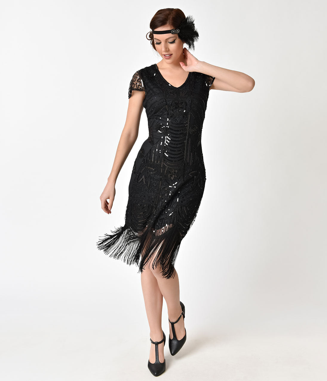 1920s Evening Dresses & Formal Gowns Unique Vintage Black Beaded Cap Sleeve Chantal Fringe Flapper Dress $63.00 AT vintagedancer.com