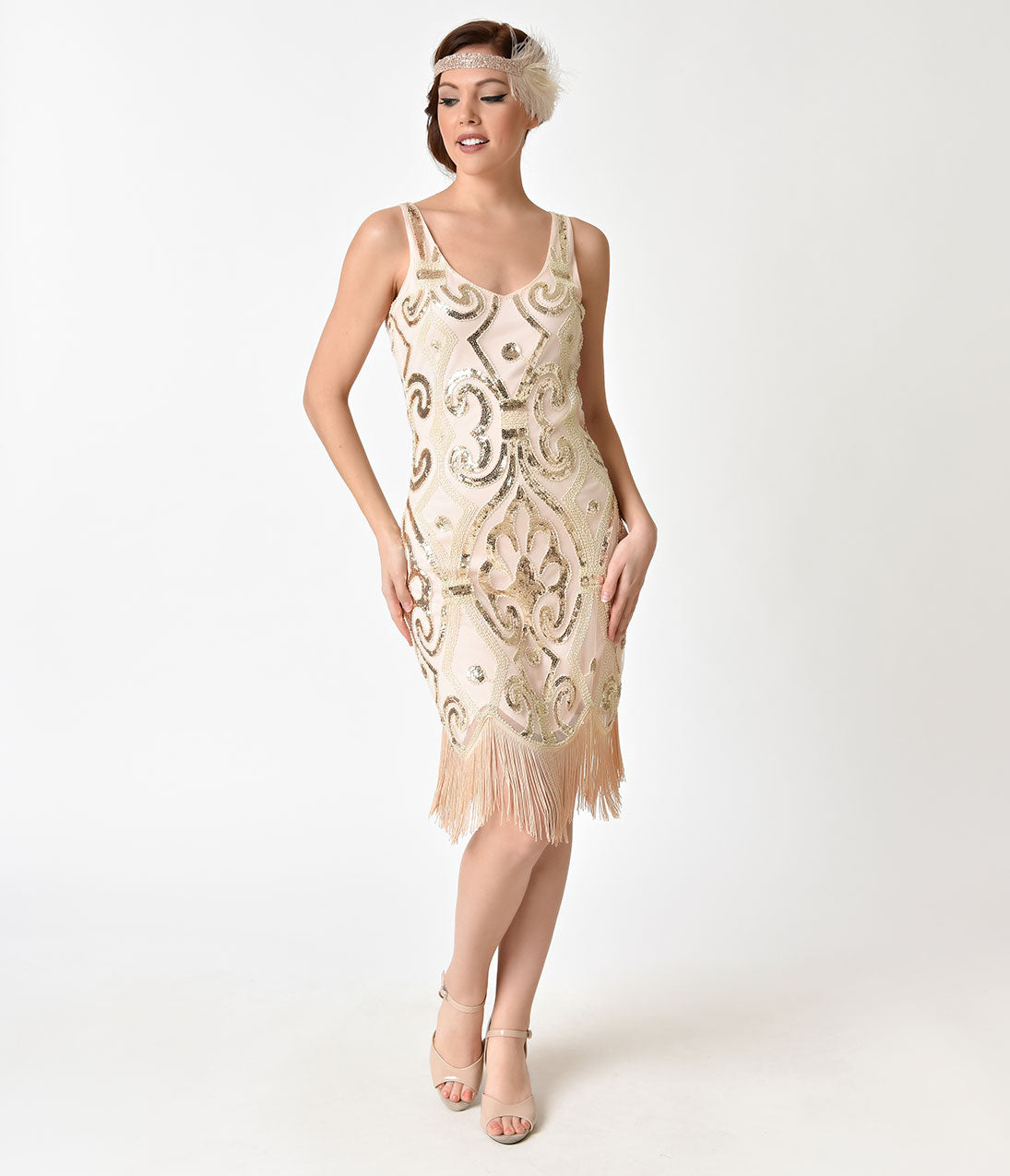 1920s Style Dresses, Flapper Dresses Unique Vintage Peach  Gold Sequin Arielle Fringe Flapper Dress $98.00 AT vintagedancer.com