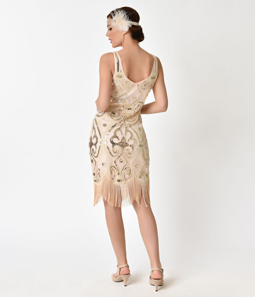 Unique Vintage Peach & Gold Sequin Arielle Fringe Flapper Dress