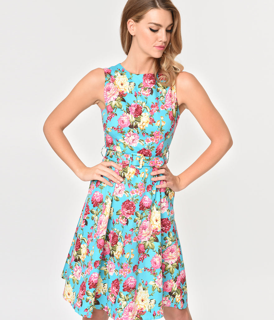Turquoise & Blooming Florals Sleeveless Cotton Swing Dress