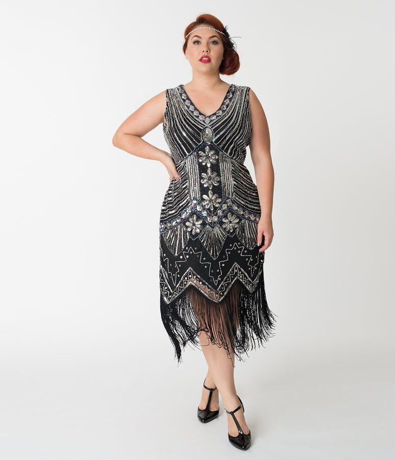 Unique Vintage Plus Size 1920s Deco Silver & Black Veronique Fringe Flapper Dress
