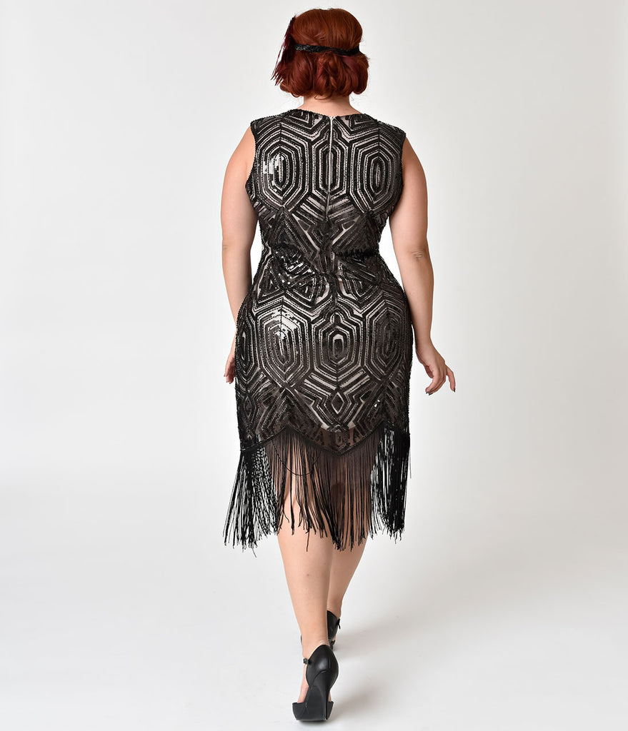 Unique Vintage Plus Size Pale Pink & Black Sequin Alberta Fringe Flapper Dress