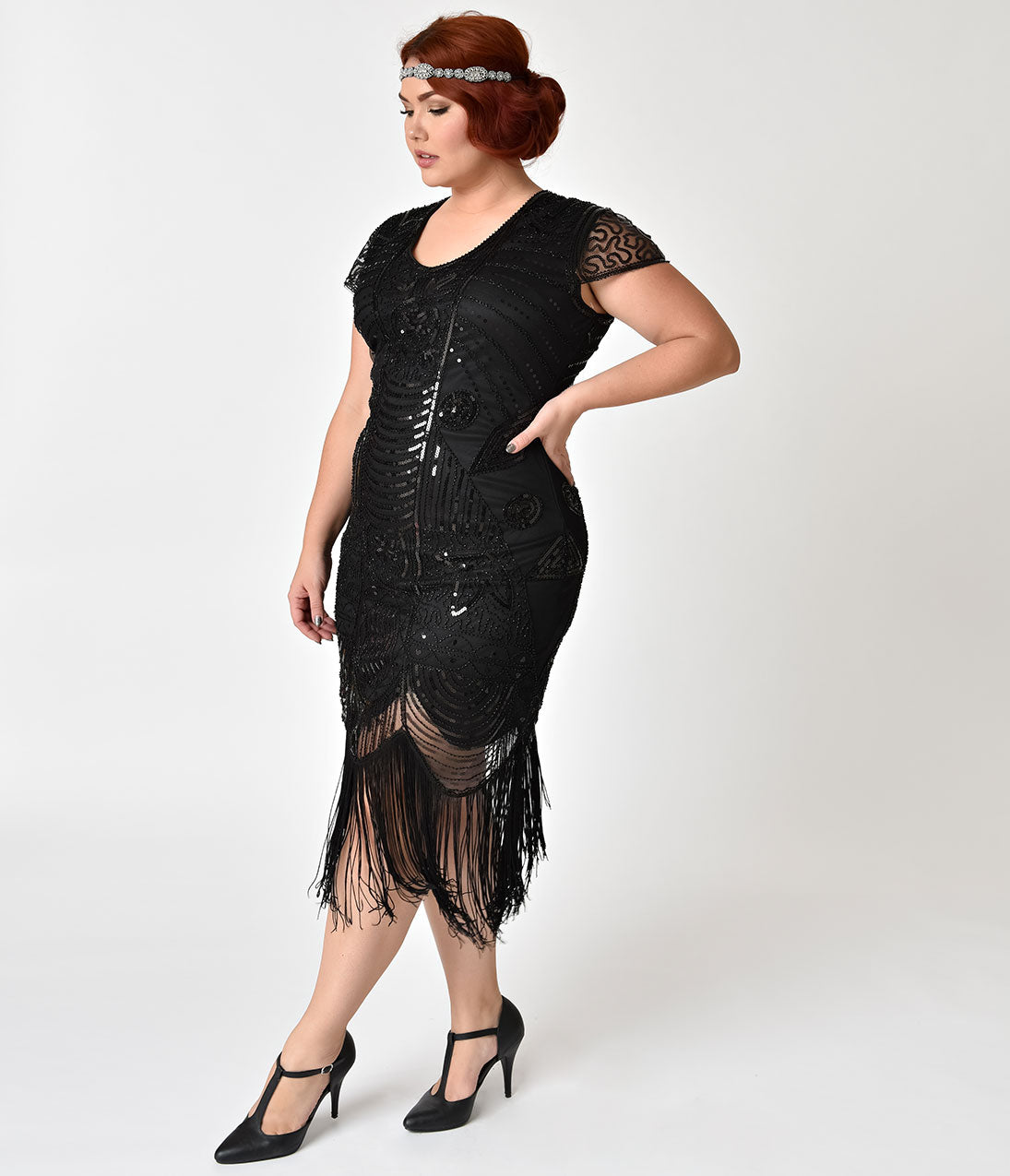 Roaring 20s Costumes- Flapper Costumes, Gangster Costumes Black Beaded Cap Sleeve Chantal Fringe Flapper Dress $74.00 AT vintagedancer.com