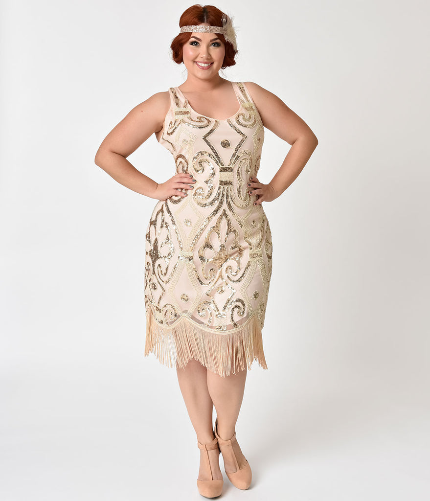 Unique Vintage Plus Size Peach & Gold Sequin Arielle Fringe Flapper Dress
