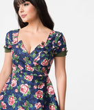 Unique Vintage 1950s Style Navy & Pink Floral Slauson Swing Dress