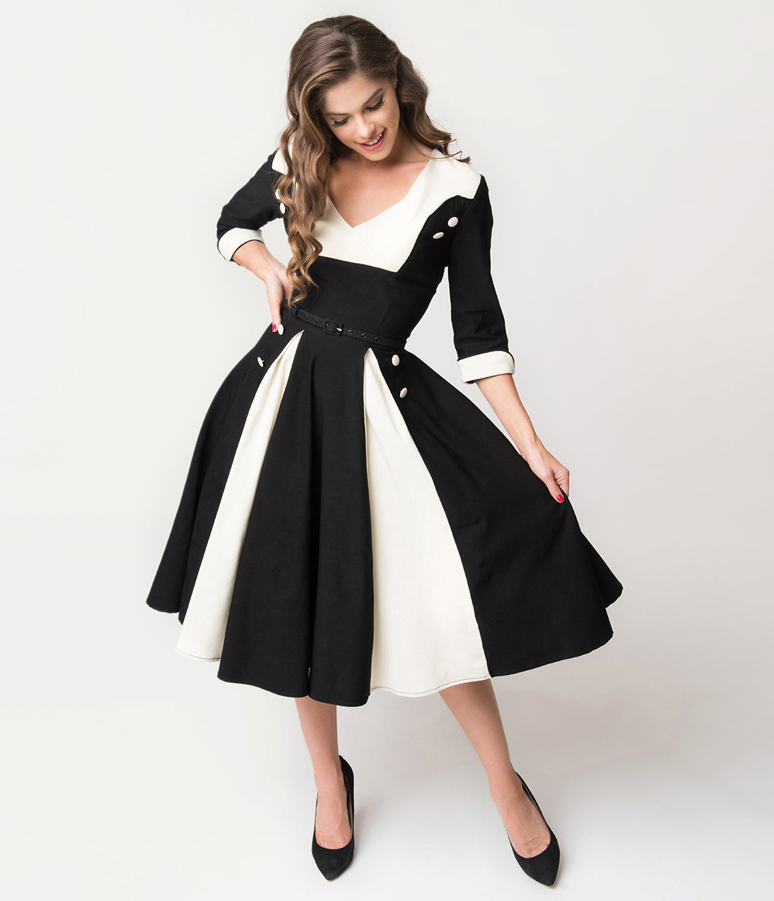 1950s Swing Dresses | 50s Swing Dress Unique Vintage Retro Style Black  Ivory Sleeved Lydia Swing Dress $74.00 AT vintagedancer.com