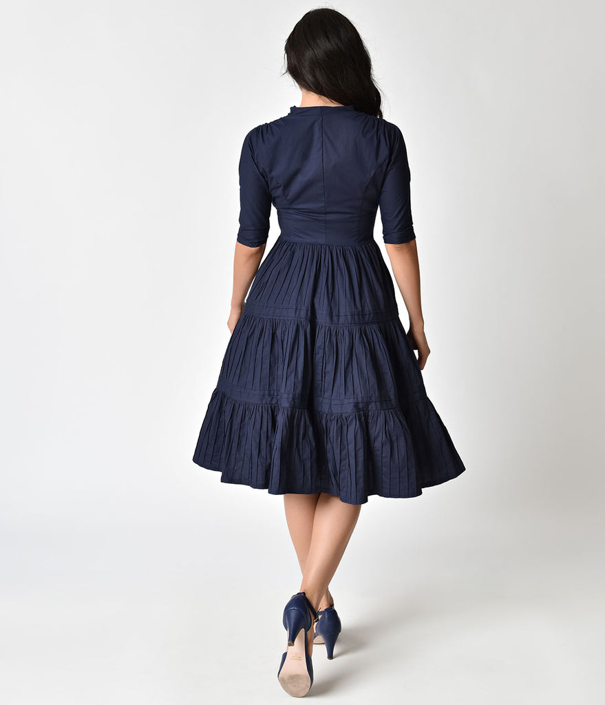 Unique Vintage 1940s Style Navy Blue Half Sleeve Holt Swing Dress