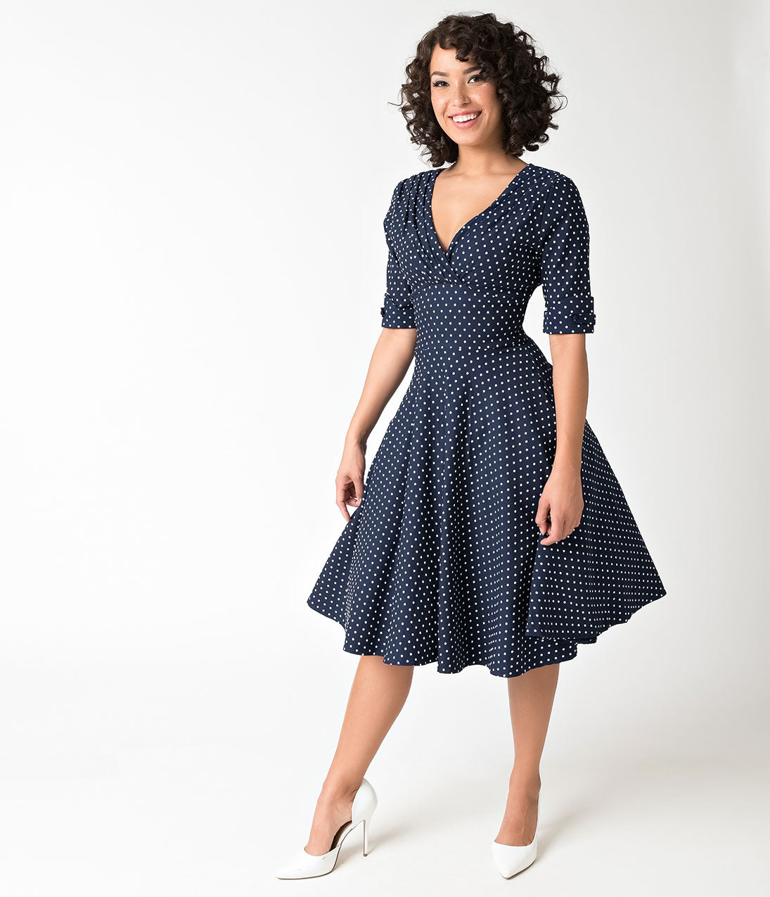 Vintage Polka Dot Dresses – 50s Spotty and Ditsy Prints 1950S Navy  White Dot Delores Swing Dress With Sleeves $92.00 AT vintagedancer.com