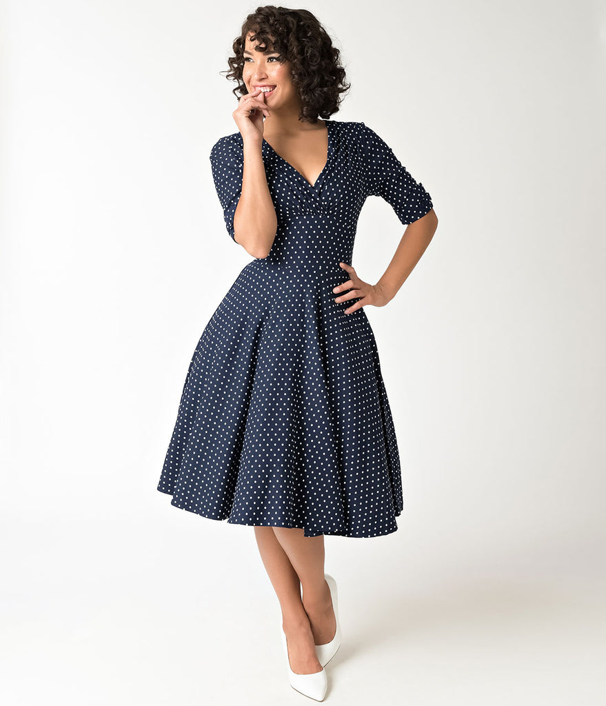 Unique Vintage 1950s Navy & White Dot Delores Swing Dress with Sleeves