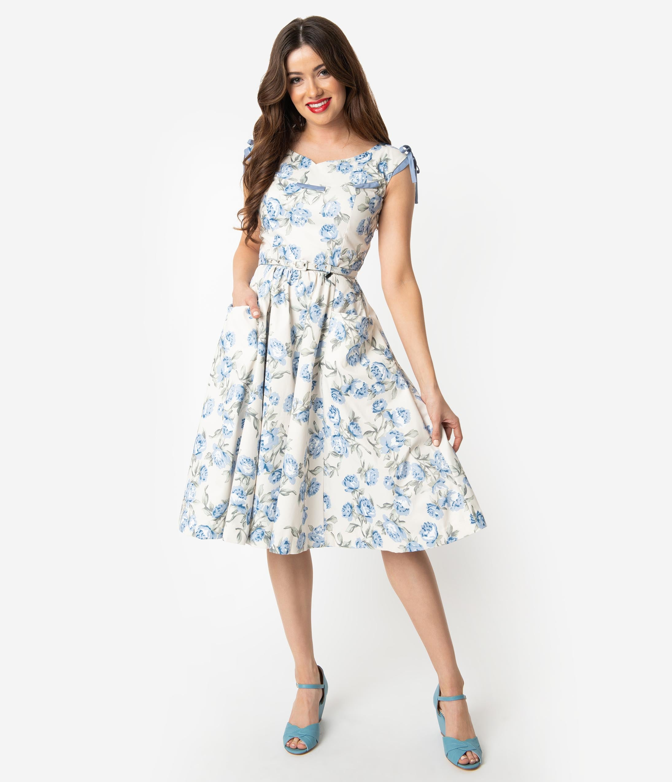 eec24ff81379 50 Vintage Inspired Clothing Stores Unique Vintage 1950S Style Ivory Light  Blue Floral Marlo Swing Dress