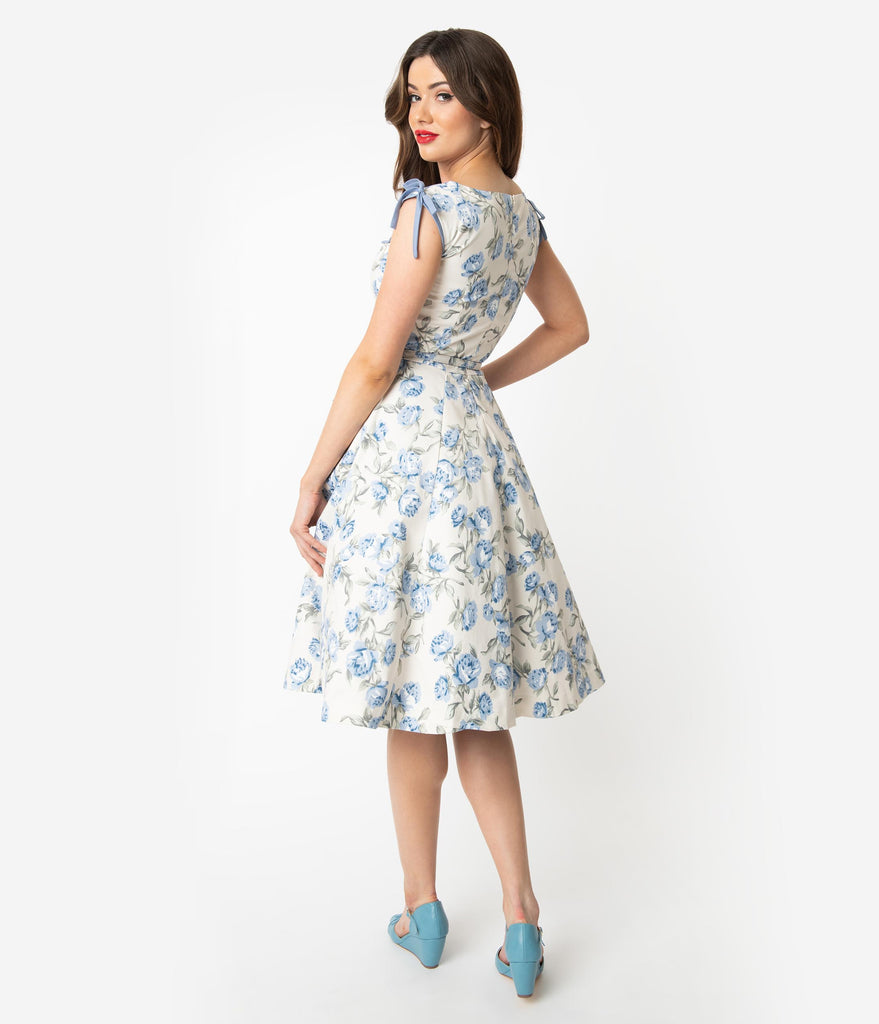 Unique Vintage 1950s Style Ivory & Light Blue Floral Marlo Swing Dress
