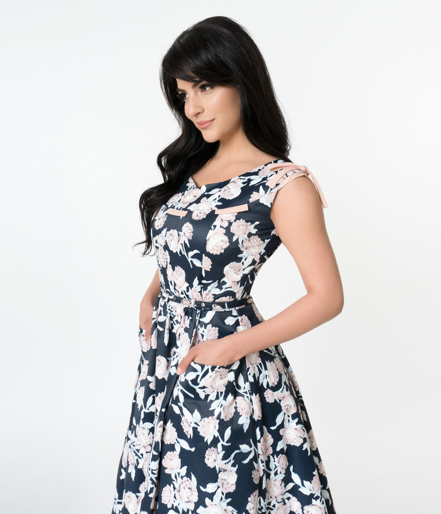 Unique Vintage 1950s Style Navy & Peach Pink Floral Marlo Swing Dress