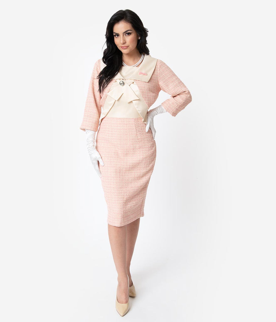 Barbie x Unique Vintage Pink Fashion Luncheon Sheath Dress & Jacket