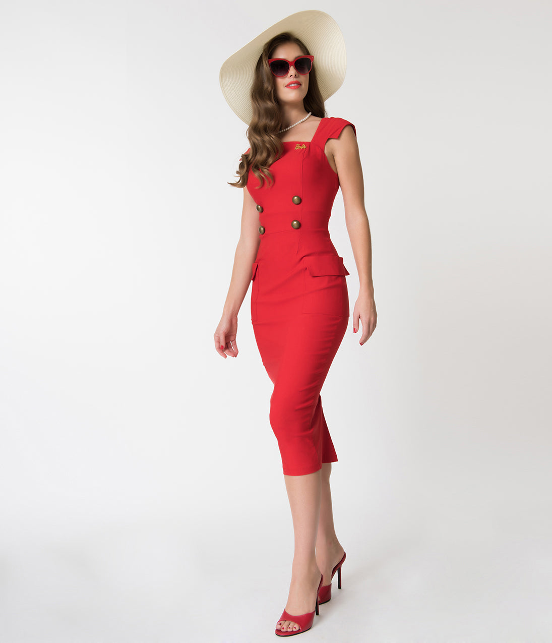 Rockabilly Dresses | Rockabilly Clothing | Viva Las Vegas Barbie X Unique Vintage Red Sheath Sensation Wiggle Dress $63.00 AT vintagedancer.com