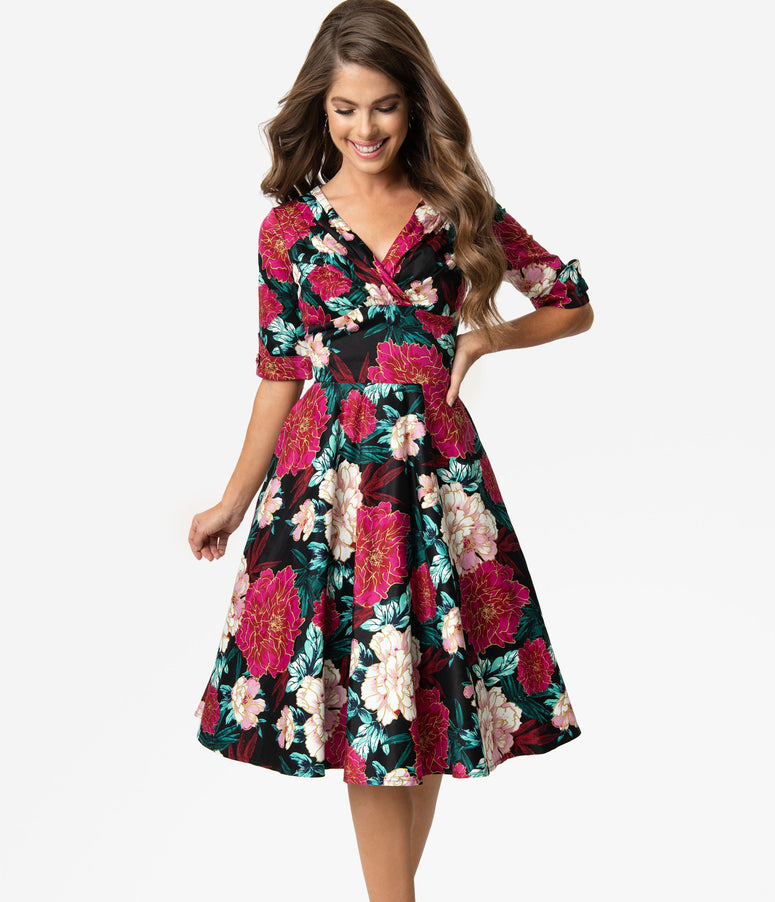 Unique Vintage 1950s Black & Carnation Floral Print Delores Swing Dress with Sleeves