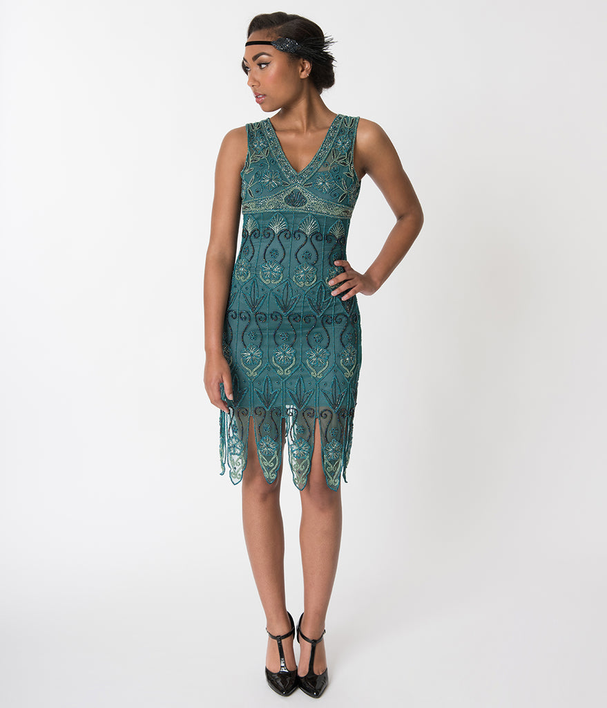 Unique Vintage 1920s Style Teal Beaded Edison Flapper Dress