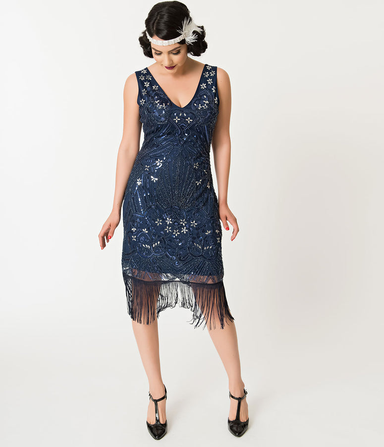 Unique Vintage Navy Blue Beaded Candide Fringe Flapper Dress