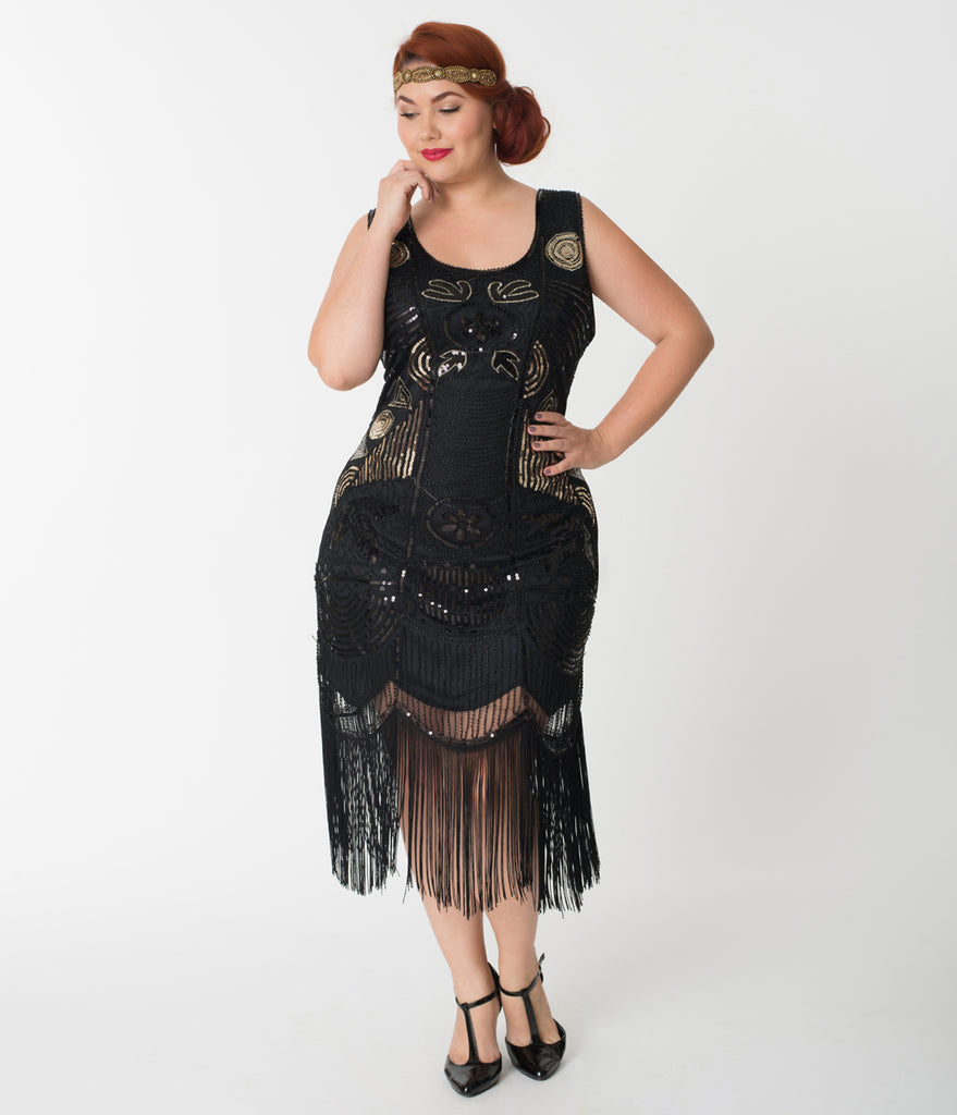 Unique Vintage Plus Size 1920s Style Black Beaded Fringe Raina Flapper Dress